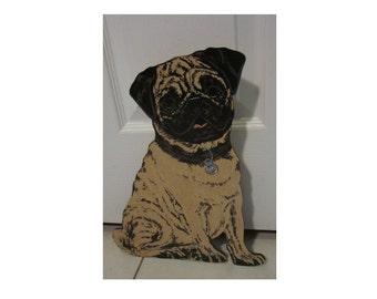Pug Hand printed on 1/4'' wood Doorstop