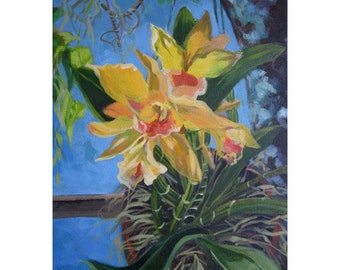 An original painting of  exotic yellow orchids