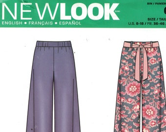 Misses Sewing Pattern New Look 6289 Wide Leg Pants Shorts with Fabric tie Belt Size 8-18 UNCUT