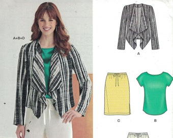 Misses Sewing Pattern New Look 6273 Open Front Waterfall Cardigan Jacket Pull On Skirt Wide Leg Pants Top Tee Size 10-22 UNCUT