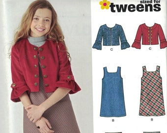 Girls Sewing Pattern New Look 6592 Tweens Jumper Dress Jacket and Stretch Knit Leggings Size 8-16 UNCUT