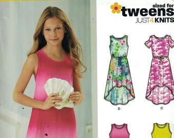 Girls Sewing Pattern New Look 6297 Tweens Stretch Knit Pullover High Low Maxi Dress Cold Shoulder Size 8-16 UNCUT