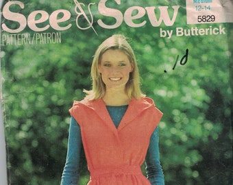 1980s Vintage Sewing Pattern See and Sew Butterick 5829 Misses Easy Hooded Jumper Dress Size Medium 12 14 Bust 34 36 COMPLETE
