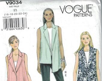 PANT /& VEST Pattern Vogue SKIRT Uncut 2014 Misses Size 8-16 Easy Vogue Sewing Tapered Pants Loose-Fitting Vest Vogue Pattern V9034