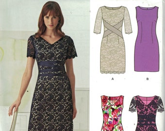 Misses Sewing Pattern New Look 6261 Slim Cocktail Dress with Lace Overlay Size 8-18 UNCUT