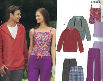 Unisex Sewing Pattern New Look 6766 Misses Mens Lounge Workout Wear Tank Top Hooded Hoodie Sweatshirt Yoga Pants Size 8-18 XS-XL UNCUT