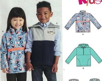 Girls Sewing Pattern New Look 6590 Kids Boys Girls Pullover Hooded Sweatshirt Vest Hoodie Half Zip Size 3-8 Breast 22-27 UNCUT
