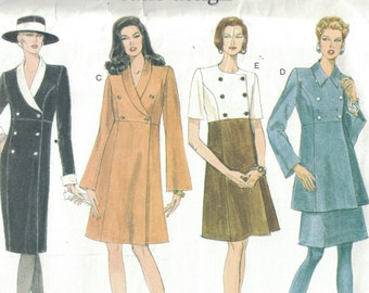 1990s Sewing Pattern Vogue 1494 Basic Design Military Style Slim Dress high Waist Tunic Top Skirt Buttons Size 12 14 16 Bust 34 36 38 UNCUT