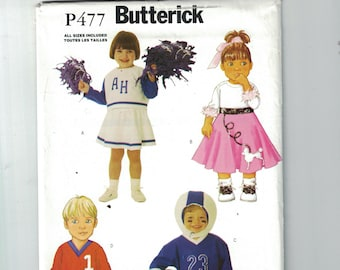Kids Sewing Pattern Butterick 3235 P477 Boys Girls Toddlers Costume Cheerleader Poodle Skirt Football Baseball Player Size 1  2 3 4 UNCUT