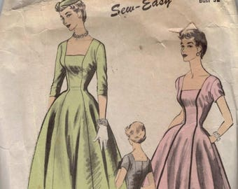 1950s Vintage Sewing Pattern Advance 6637 Misses Full Skirt Square Neck Dress with Sleeve Options Size 14 Bust 32 1950s 50s