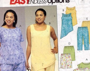 Womens Sewing Pattern McCalls 4097 Misses Easy Endless Options Pants Shorts Top Tunic Plus Size 18W-24W UNCUT