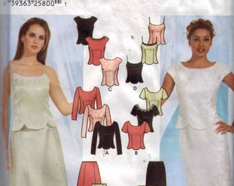 Misses Sewing Pattern Simplicity 7219 Misses Evening Slim or Flared Skirt and Lined Top Bridesmaid Prom Size 14 16 18 20 UNCUT Multisize