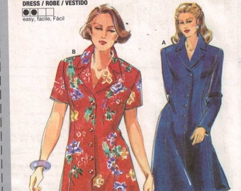 Misses Sewing Pattern Burda 3628 Misses Button Front Coat Dress Princess Seams Size 8 10 12 14 16 18 UNCUT 1990s
