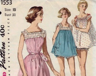 1950s Vintage Sewing Pattern Simplicity 1553 Misses Shortie Nightgown Pegnoir Baby Doll and Pantie Lingerie Size 13 Bust 31 50s 1950s UNCUT