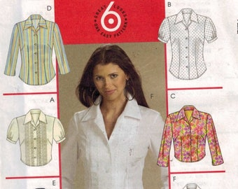 Misses Sewing Pattern McCalls M5138 5138 Misses and Petite Button Front Blouse Shirt Size 6 8 10 12 Bust 29 30 31 32 34 UNCUT
