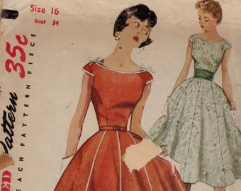 1950s Vintage Sewing Pattern Simplicity 4674 Missess Full Skirt Gored Party Dress Boat Neck Size 16 Bust 34 1950s 50s
