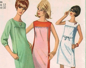 1960s Vintage Sewing Pattern Simplicity 6493 Misses Gathered Front Mini Dress with Pockets Size 12 Bust 32 1966  UNCUT