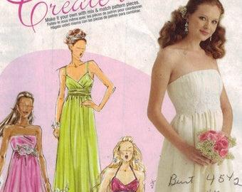 Misses Sewing Pattern McCalls M5806 5806 Misses Strapless High Waist Romantic Wedding Gown Bridesmaids Dress Prom Size 4 6 8 10 12 UNCUT  99
