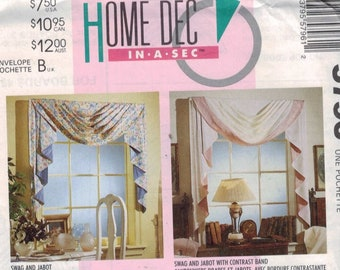 Craft Sewing Pattern McCalls 5796 Home Decor Dec in a Sec Window Valance Drapes Window Treatment Swag UNCUT