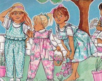 Kids Sewing Pattern Butterick 4152 Childrens Girls Jumper and Jumpsuit Size 1 2 3 Chest 20 21 22 1989 80s UNCUT