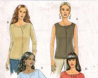 Misses Sewing Pattern Butterick 5387 B5387 Misses Easy Pullover Top with Neck and Sleeve Detail Size 14 16 18 20 Bust 36 38 40 42 UNCUT