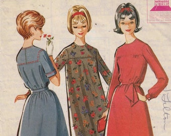 1960s Vintage Sewing Pattern McCalls 6913 Teen and Junior Dress Gathered Yoke Front Size 12T Bust 32 60s 1963