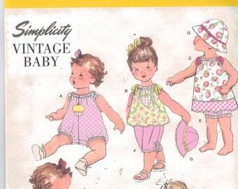 Baby Sewing Pattern Simplicity 1813 Babies Retro Vintage Romper Dress Top pants Panties Hat Sizes Newborn 3 6 9 12 18 months UNCUT