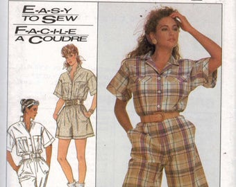 Misses Sewing Pattern Simplicity 8621 Misses Easy Loose Fitting Jumpsuit Romper in Two Lengths Size Small 10 12 Bust 32 33 34 UNCUT 1980s 99