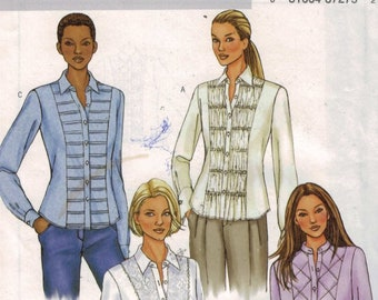 1990s Vintage Misses Sewing Pattern Butterick 4023 Misses and Petite Fitted Shirt with Pleated Front Size 12 14 16 UNCUT