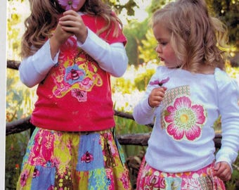 Girls Sewing Pattern Pink Fig Patterns Patchwork Skirt and T-Shirt Applique Boutique No 8 Size 6 Mo to 10 Years NEW