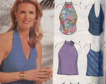 Misses Sewing Pattern Simplicity 9697 Misses Easy Halter Top Tank Blouse Party Clubwear Size 14 16 18 20 Bust 36 38 40 42 UNCUT  99