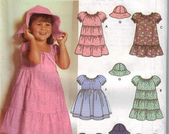 1990s Girls Sewing Pattern Simplicity 5695 Girls Tiered Ruffled Skirt Sun Hat Size 2 3 4 Breast 21 22 23 UNCUT