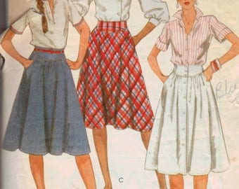 1980s Vintage Sewing Pattern McCalls 8379 Misses Button Front Yoked Full Knee Length Skirt Size 8 Waist 24 1983 80s  99