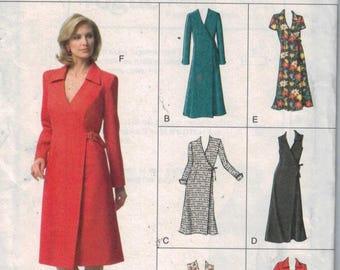 Misses Sewing Pattern Vogue V7931 7931 Misses Wrap Dress Buckle Side Collar Size 12 14 16 Bust 34 36 38 UNCUT  99