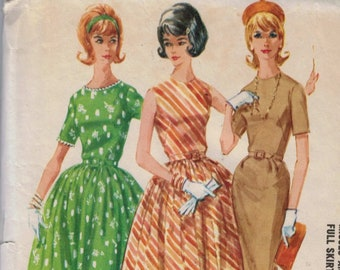 1960s Vintage Sewing Pattern McCalls 6146 Misses Dress with Slim or Full Skirt Size 12 Bust 32 60s 1961