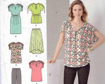 Misses Sewing Pattern Simplicity 1619 Misses Loose Fitting Dress or Top Knit Pants Skirt Size 6 8 10 12 14 16 Bust 30 31 32 34 36 38 UNCUT
