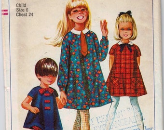 1960s Vintage Girls Sewing Pattern Simplicity 7331 Girls Mod Dress Bloomers and Tie Size 6 Breast 24 60s 1967