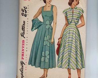 1940s Vintage Sewing Pattern Simplicity 2397 Sundress Jacket Applique Size 14 Bust 32 40s
