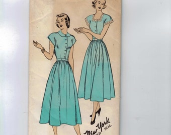 1950s Vintage Sewing Pattern New York 436 Misses Full Skirted Dress with Lace Trim Size 40 Bust 40 UNCUT 50s