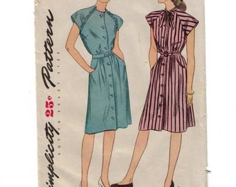 1940s Vintage Sewing Pattern Simplicity 1320 Misses Shirt Dress Size 16 Bust 34 1944  99
