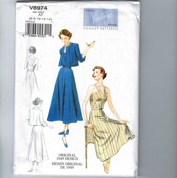 Vogue 8728 Vintage 1946 Design Dress Pattern Sz 8-14 or 16-22