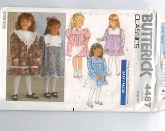 Kids Sewing Pattern Butterick 4487 Girls Easy Dress Yoke Collar Frilly Heirloom Size 1 2 3 Chest 20 21 22 1989 80s