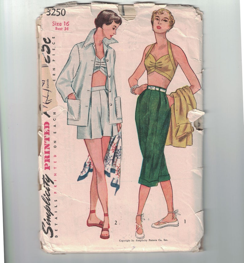 1950s Vintage Sewing Pattern Simplicity 3250 Misses Bra Top Shorts Pedal Pushers and Jacket Summer Beach Size 16 Bust 34 50s Cut or Uncut