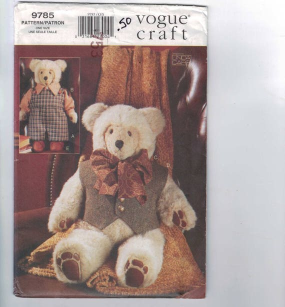 Craft Sewing Pattern Vogue 9785 Stuffed Animal Teddy Bear and ...