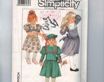 1980s Girls Vintage Sewing Pattern Simplicity 8818 Girls Sailor Dress with Full Skirt Victorian Size 4 Breast 23 1988 80s  UNCUT