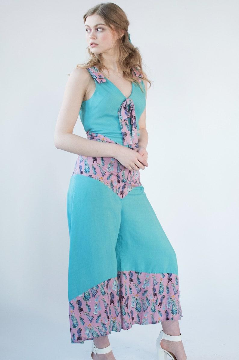 1930s Wide Leg Pants and Beach Pajamas Aqua and Pink 1930s Style Art Deco Beach Pajamas With Novelty Print -