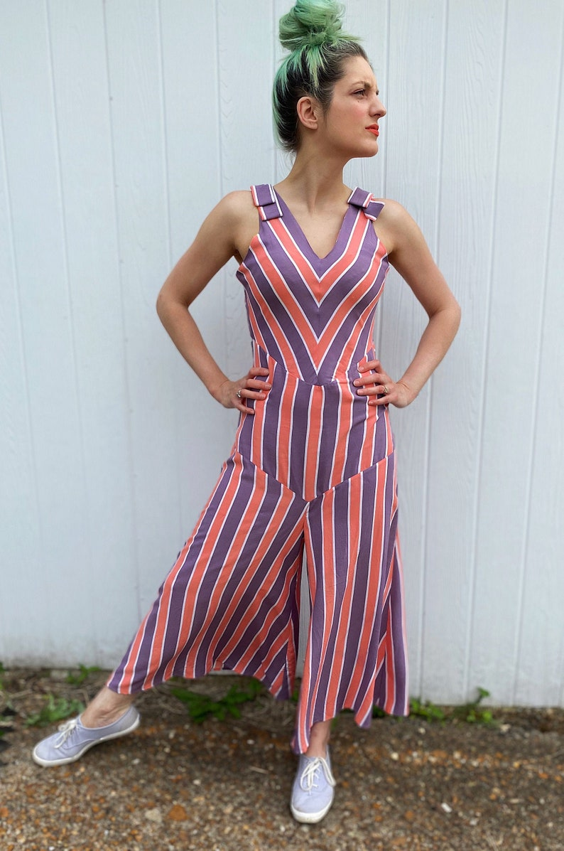 1930s Wide Leg Pants and Beach Pajamas Candy Striped Reproduction Beach Pajamas 1930s Jumpsuit Loungewear $300.00 AT vintagedancer.com