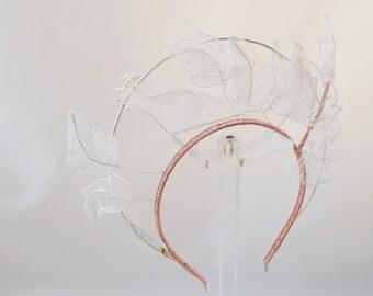 Rose Gold Halo Headband with White Vintage Organza Lace Wedding Headpiece