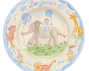 "Birthday Plate, Childs Ceramic 10"" Family Birthday Dinner Plate ,Handpainted Plate ,Personalized Folk Art Plate"