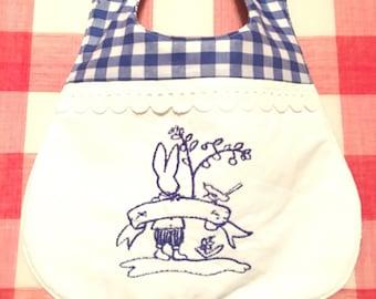 Adorable Baby Bib, Original Fabric design, Fabric Baby Bib, Custom Fabric, Baby Bib with Embroidered Bunny,